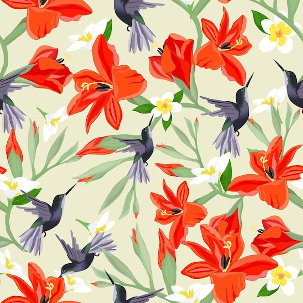 Humiingbird no padrão sem emenda de flor laranja e branca. Vetor Premium