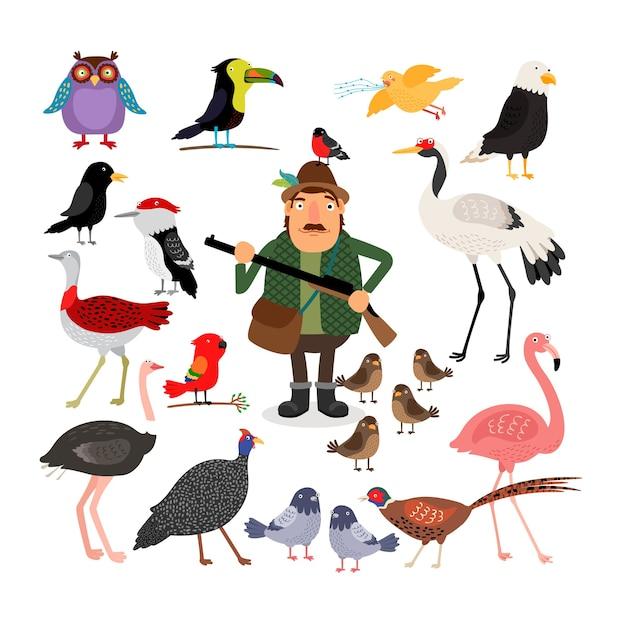 Hunter segurando uma espingarda. conjunto de ilustração de pássaros Vetor grátis