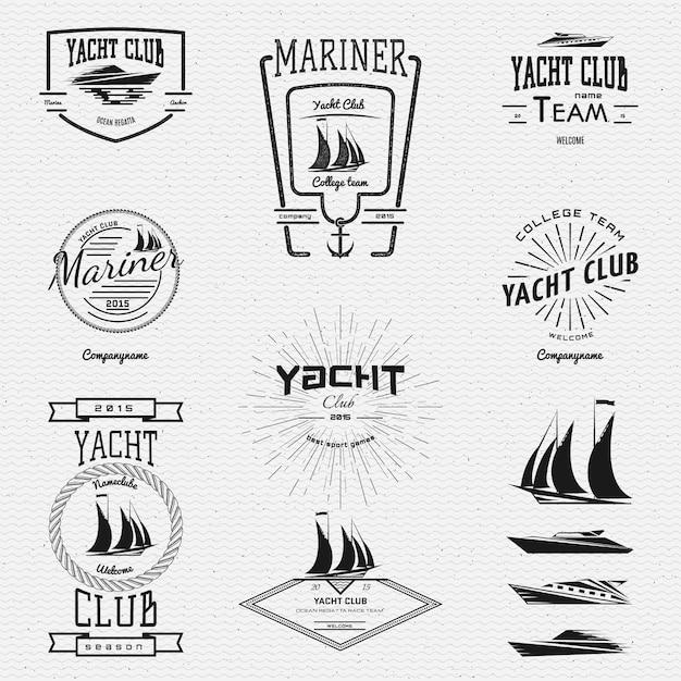 Iate clube emblemas logotipos e rótulos Vetor Premium