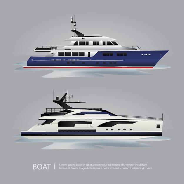 Iate de barco de transporte turístico para viajar de ilustração vetorial Vetor Premium
