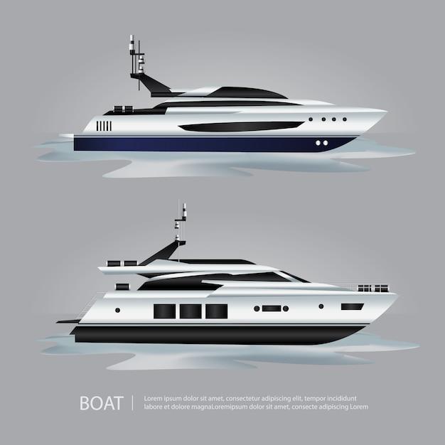 Iate de turismo de barco de transporte para viajar Vetor Premium