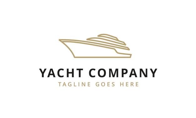 Iate minimalista / cruise logo design Vetor Premium