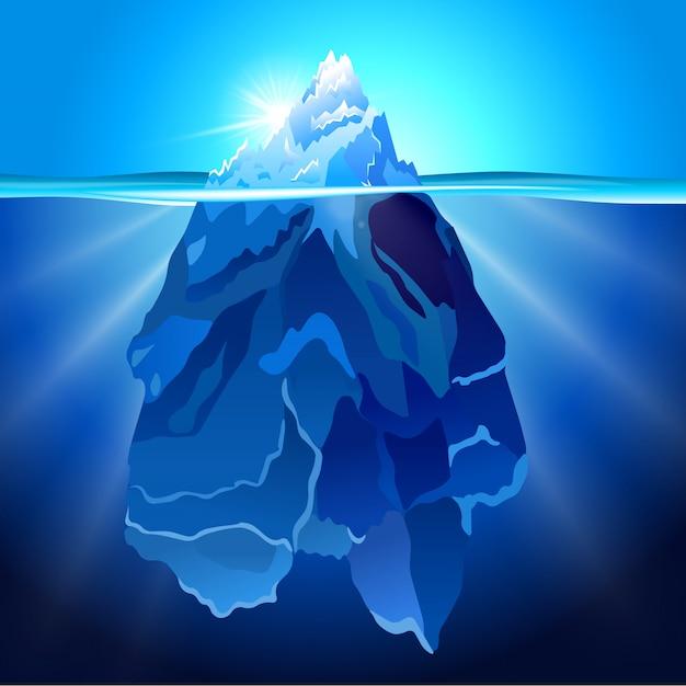 Iceberg em fundo realista de água Vetor Premium