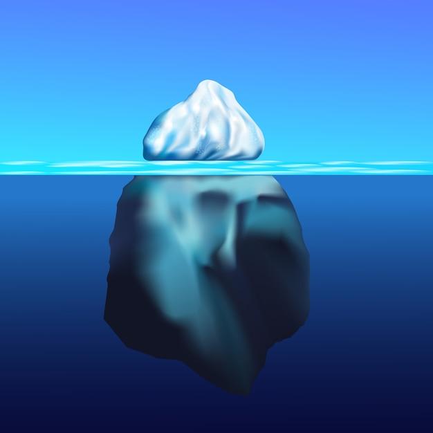 Iceberg flutuando na paisagem ártica do interior com água azul pura e montanhas de neve Vetor Premium