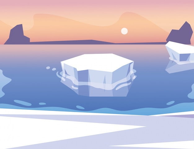 Iceberg flutuando no oceano azul com o sol no céu Vetor Premium