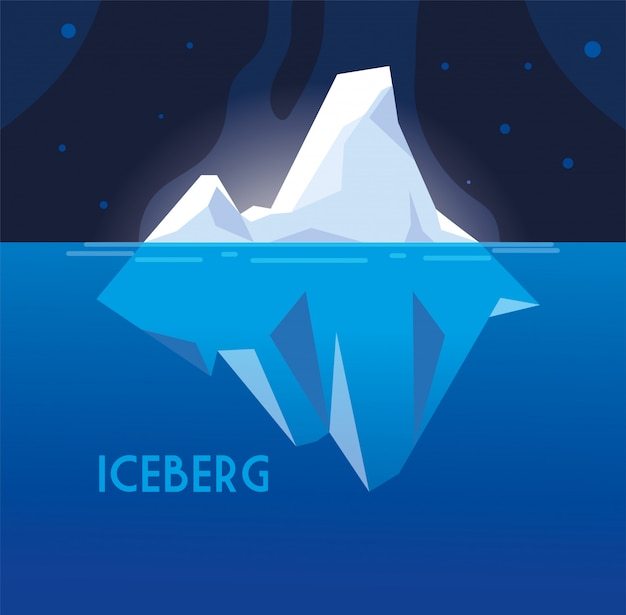 Iceberg grande cheio flutuando no mar Vetor Premium