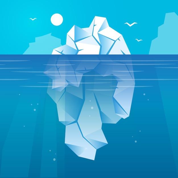 Iceberg no oceano ilustrado Vetor grátis