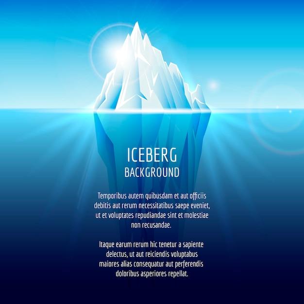 Iceberg realista na água. paisagem antártica, natureza, oceano, neve e gelo Vetor grátis