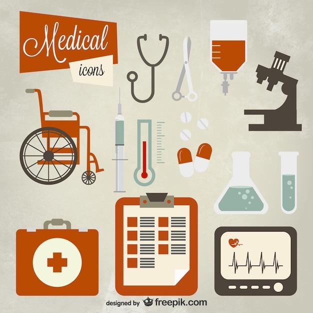 Icon set médica Vetor grátis
