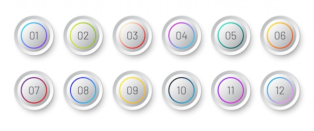 Ícone 3d do círculo branco definido com um marcador numérico de 1 a 12. Vetor Premium