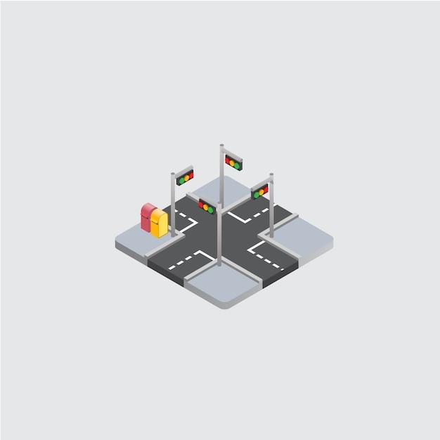 Ícone 3d isométrico de encruzilhada Vetor Premium