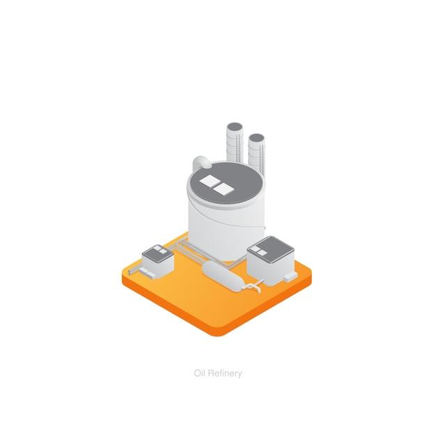Ícone 3d isométrico de refinaria Vetor Premium