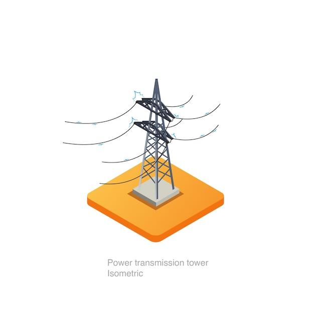 Ícone 3d isométrico de torre de transmissão de energia Vetor Premium