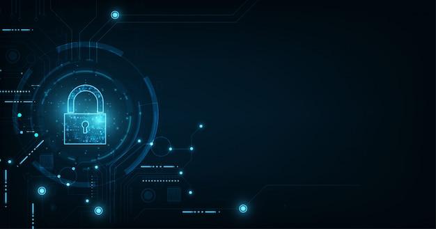 Ícone cadeado com fechadura. segurança de dados pessoais ilustra a idéia de privacidade de dados ou informações cibernéticas. azul cor resumo oi velocidade internet tecnologia. Vetor Premium