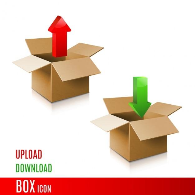 Ícone caixa de papelão modelo 3d da caixa Vetor grátis