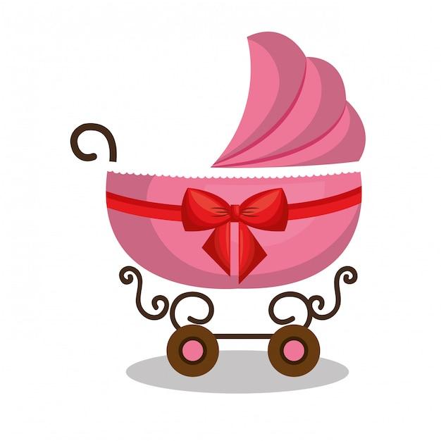 Ícone carrinho de bebê rosa design Vetor Premium