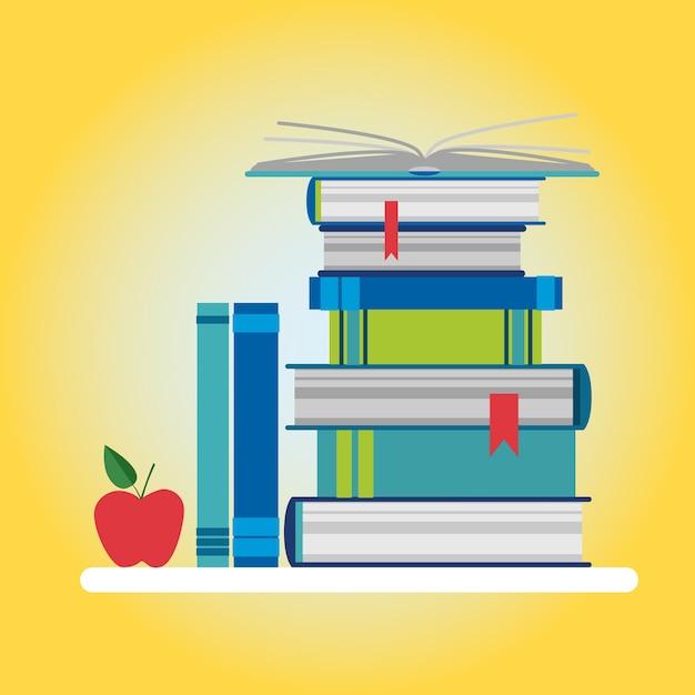 Ícone colorido de pilha de livros Vetor Premium