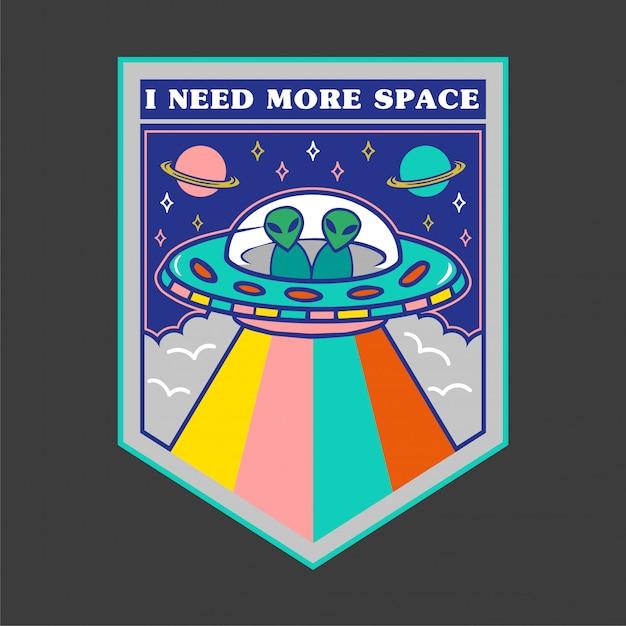 Ícone colorido dos desenhos animados ovni com alienígenas no quadro e a frase