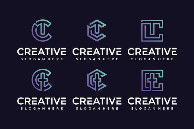 Ícone criativo e elegante do logotipo da carta tc para empresas de luxo Vetor Premium