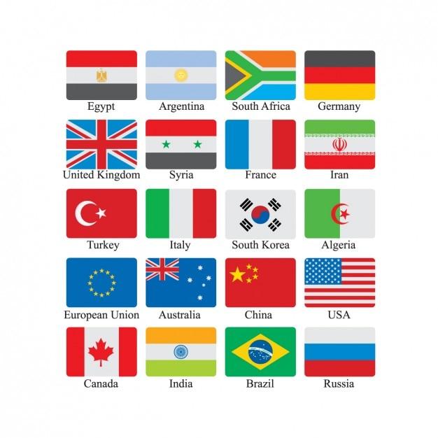 Ícone da bandeira ajustado Vetor grátis