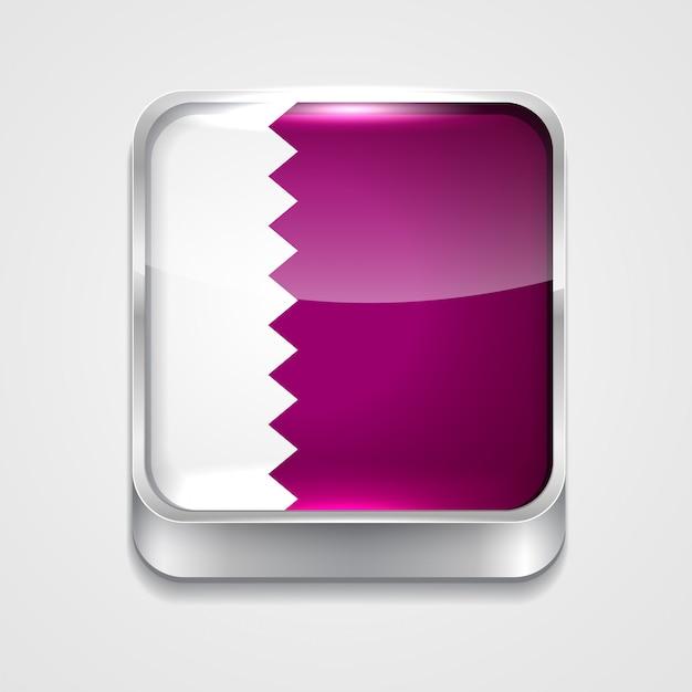 Ícone da bandeira do estilo 3d do vetor de qatar Vetor grátis