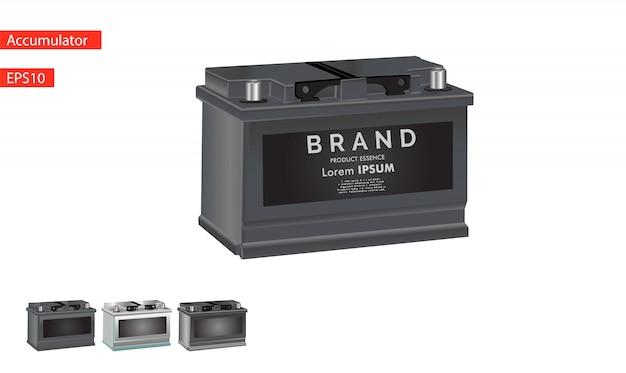 Ícone da bateria de carro isolado no fundo branco. Vetor Premium