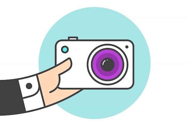 Ícone da câmara fotográfica Vetor Premium