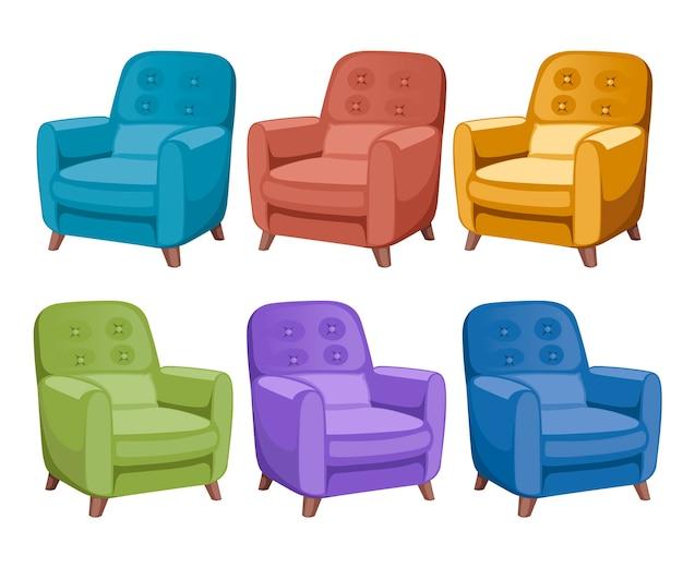 Ícone da coleção de poltrona colorida. móveis, elementos de sala de espera para quartos e armários. Vetor Premium
