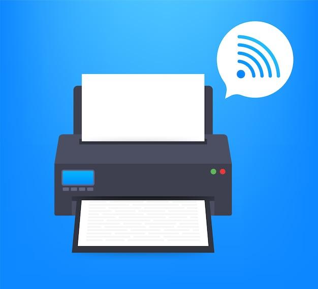 Ícone da impressora com símbolo de wi-fi sem fio Vetor Premium