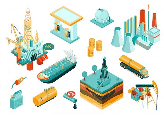 Ícone da indústria de óleo isolado e isométrico conjunto com diferentes elementos e equipamentos que descrevem a indústria Vetor grátis