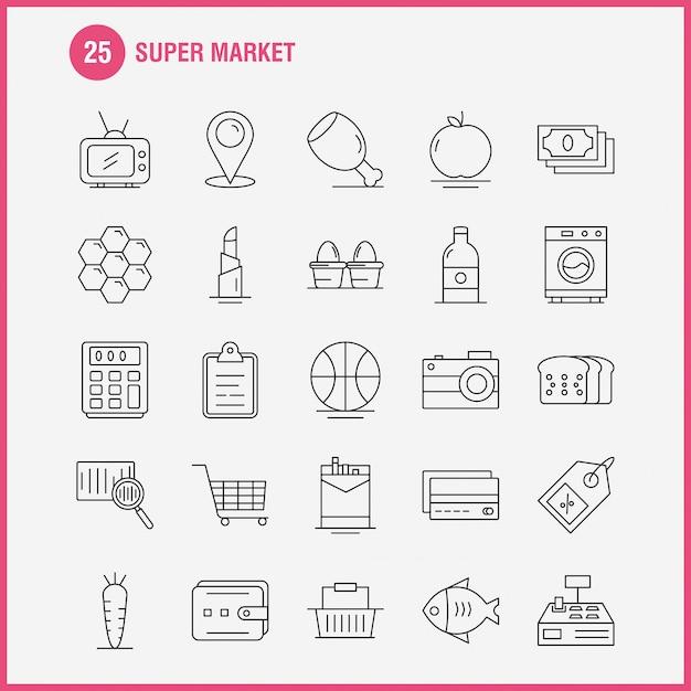 Ícone da linha de super mercado Vetor Premium