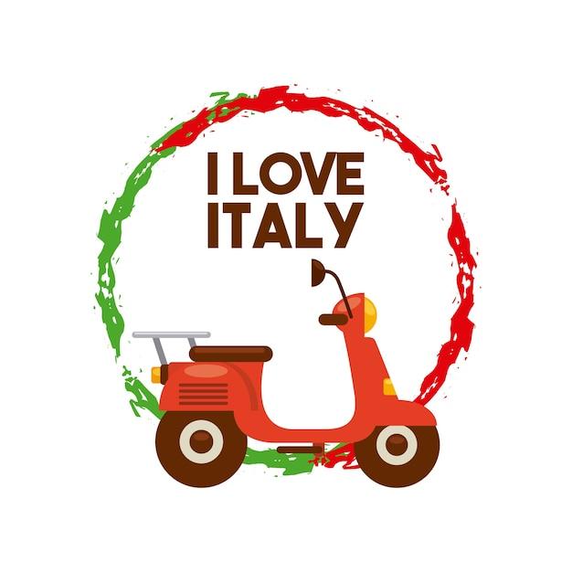 Ícone da motocicleta design de cultura da itália. gráfico de vetor Vetor Premium