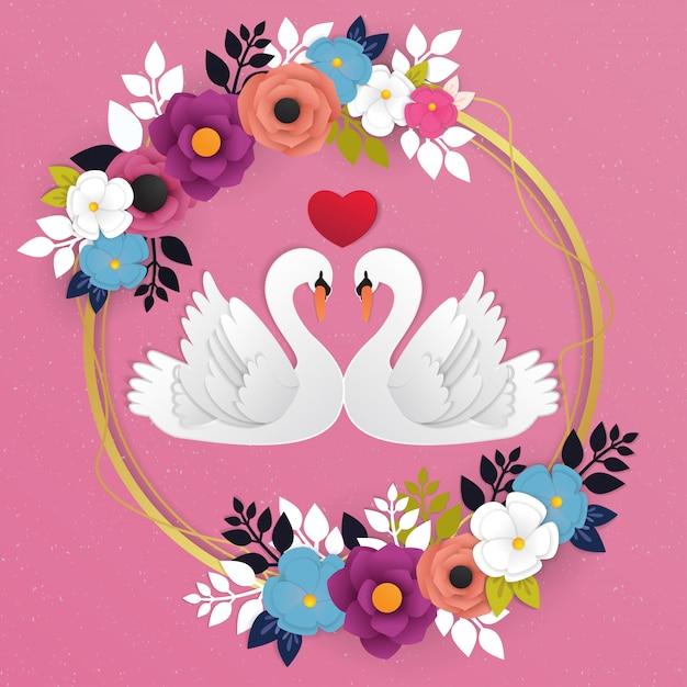 Ícone de amor de ganso e vetor de fundo de flor Vetor Premium