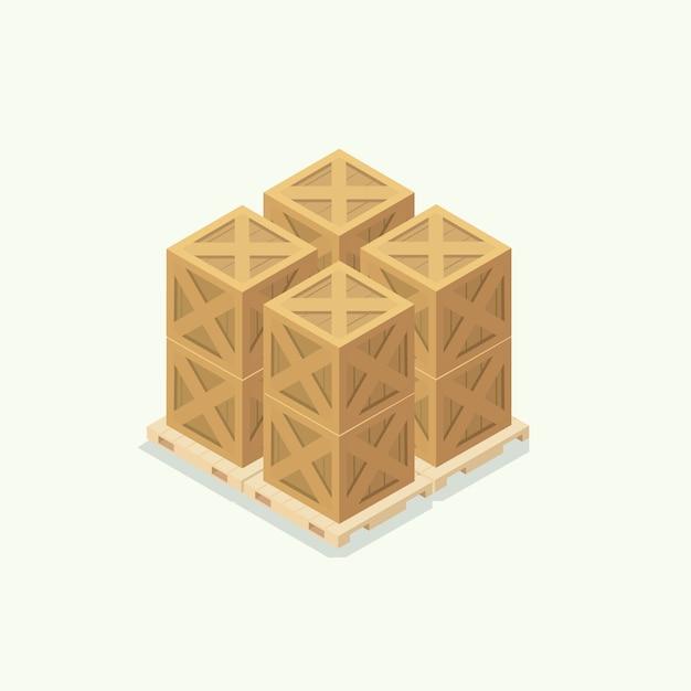 Ícone de armazém de caixa de madeira. vetor de ilustração isométrica Vetor Premium