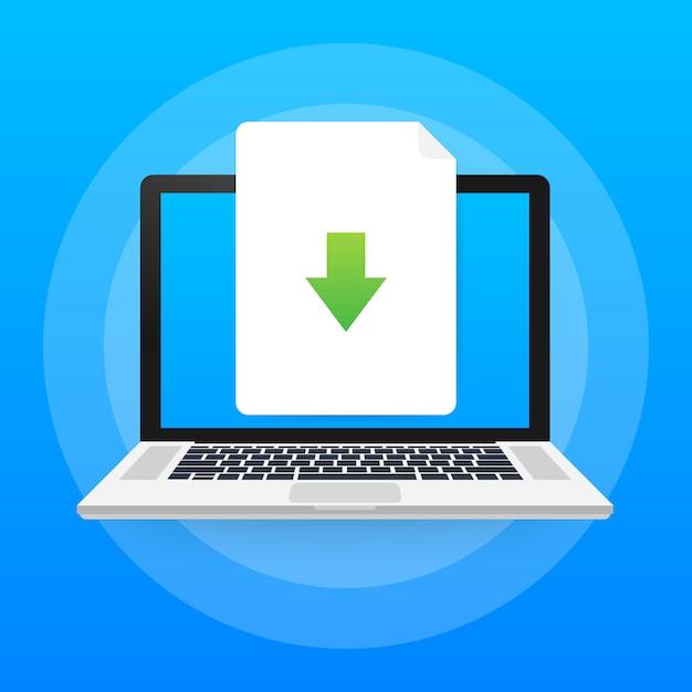 Ícone de arquivo do laptop e download. conceito de download de documentos. Vetor Premium