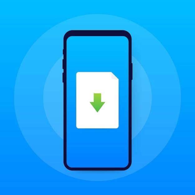 Ícone de arquivo smartphone e download. conceito de download de documentos Vetor Premium
