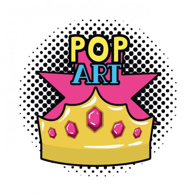 Ícone de arte pop de coroa de ouro Vetor Premium