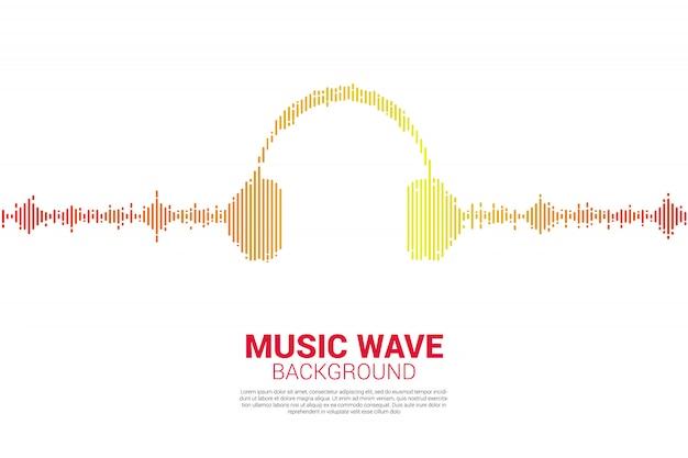 Ícone de áudio visual fone de ouvido com estilo gráfico de onda de pixel Vetor Premium