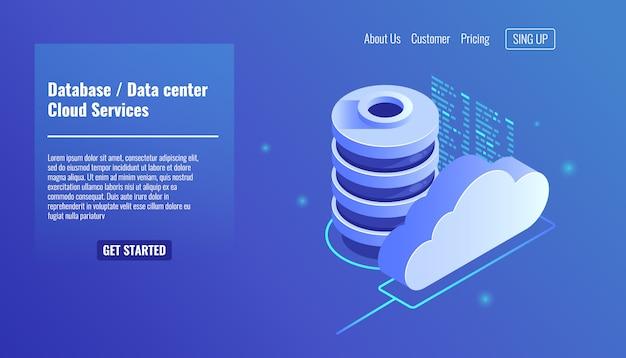 Ícone de banco de dados e datacenter, conceito de serviços de nuvem, backup e salvamento de arquivos Vetor grátis