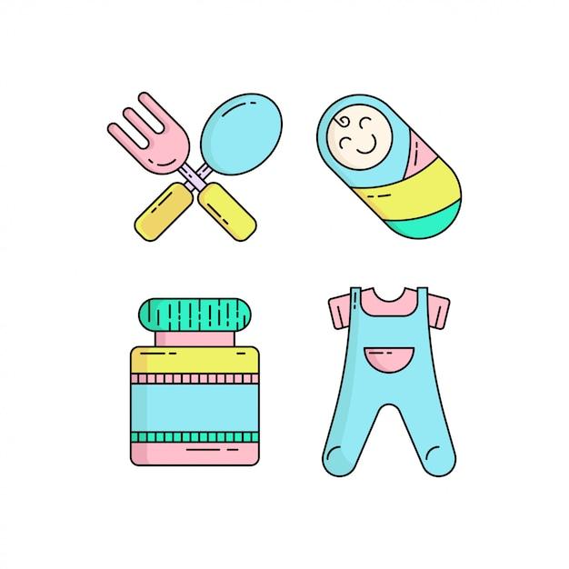 Ícone de bebê fofo colorido definido no estilo monoline Vetor Premium