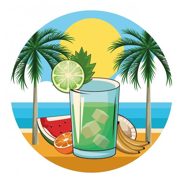 Ícone de bebida cocktail tropical Vetor Premium