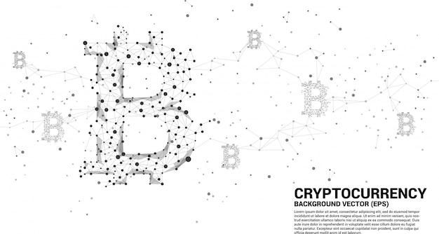 Ícone de bitcoin vetor da linha de conexão de ponto de polígono. conceito para tecnologia de criptomoeda Vetor Premium