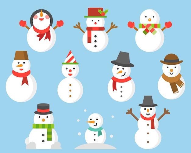 Ícone de boneco de neve para o inverno e o natal Vetor Premium