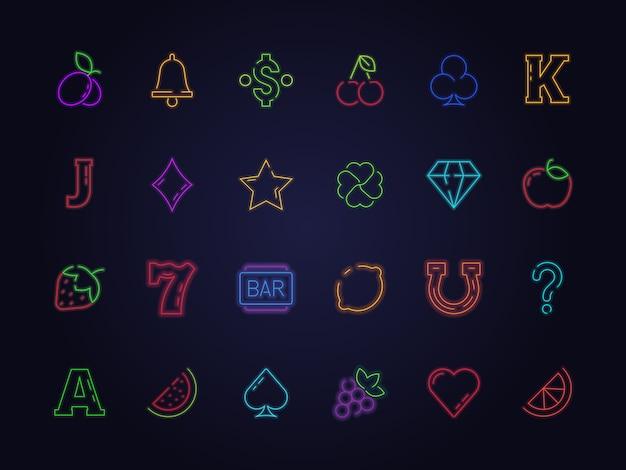 Ícone de caça-níqueis de néon. símbolos de jogos de cassino jogo cerejas trevo da sorte frutas diamante fotos Vetor Premium