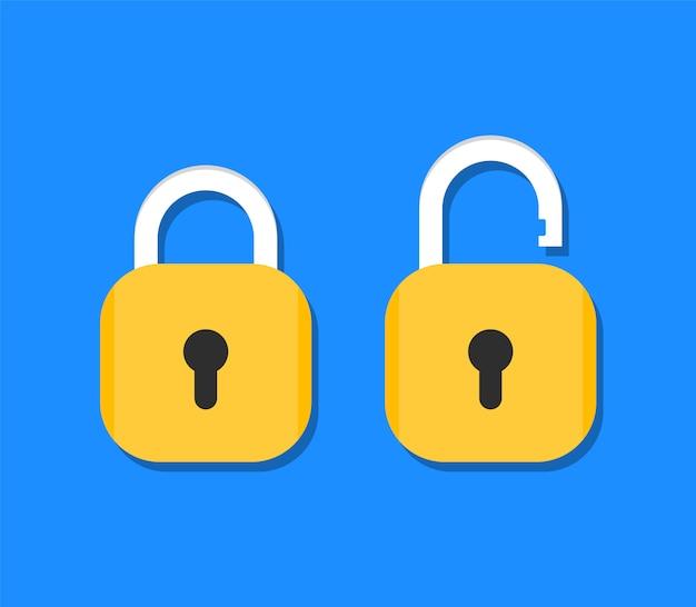 Ícone de cadeado bloqueado e desbloqueado. fechamento aberto e fechado em estilo simples. Vetor Premium