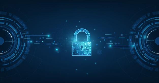 Ícone de cadeado com fechadura na segurança de dados pessoais ilustra idéia de privacidade de dados ou informações cibernéticas Vetor Premium