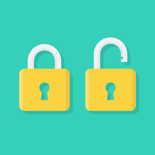 Ícone de cadeado plano, bloqueado e desbloqueado Vetor Premium