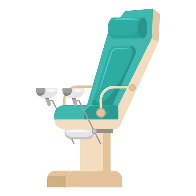 Ícone de cadeira ginecológica isolado no fundo branco. Vetor Premium