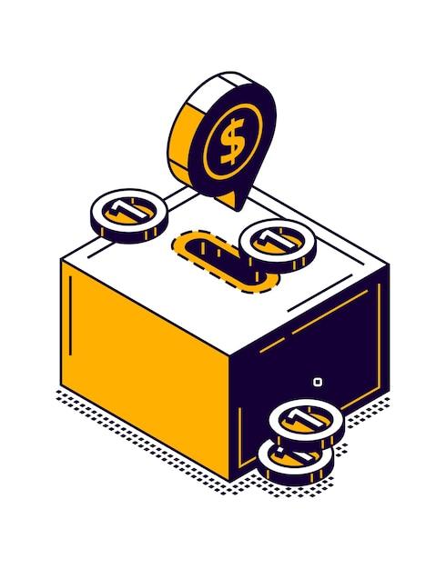 Ícone de caixa de dinheiro com ilustração isométrica de moeda de ouro Vetor grátis