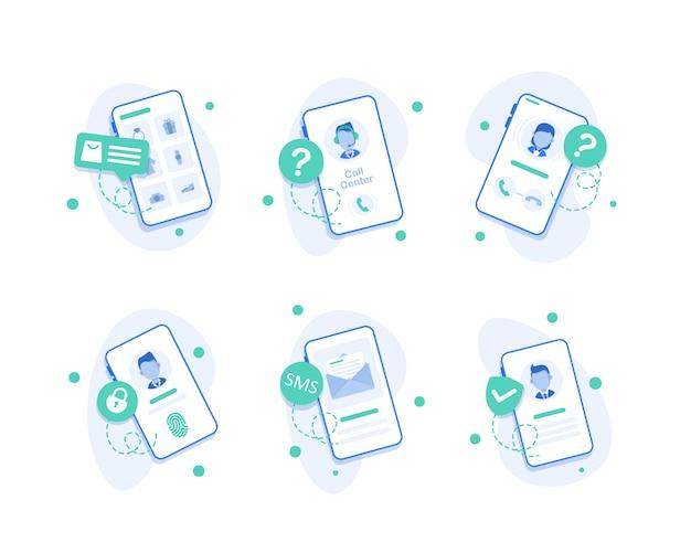 Ícone de call center de smartphone, ícones de operador de call center, design plano o smartphone com a chamada recebida na tela Vetor Premium